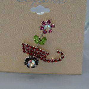 NWT Flower Pot Pin Brooch Tie tack Pin Crystals